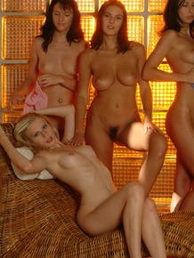 Anita Queen and four of her lesbian girlfriends get naked together