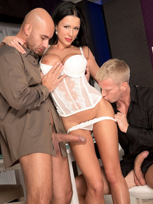 Dark haired office worker Patty Michova does a MMF threesome in the office