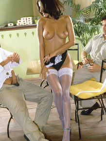 Slender brunette chick has sex with two men in white stockings