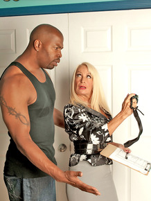 Horny mature housewife seduces big ebony stud for steamy kitchen suck & fuck