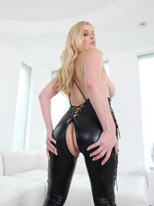 Babe in latex outfit Danielle Delaunay unclothes herself and spreads her ass