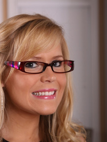 Nerdy blond mom Darcy Tyler freeing sexy ass from pink panties while disrobing