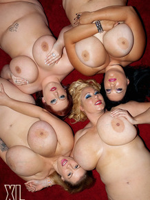 Four wild BBW with massive breasts strip and pose nude together