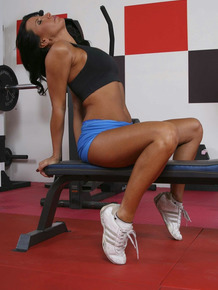 Hungarian fitness addict Lezley Zen working out naked in the gym