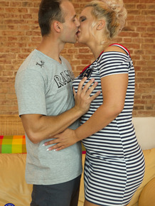 Older blonde housewife cheats on her husband with a younger man