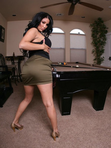 Gorgeous Latina MILF Sophia Lomeli exposes her huge big boob on the pool table
