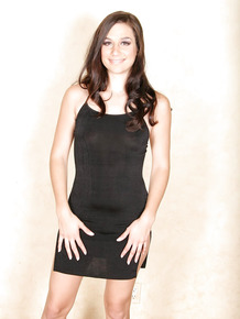 Beautiful brunette Jackie Ashe flashing thong clad ass lifting black dress
