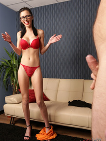 Skinny brunette Ella Rose strips to red bra and panties during JOI session