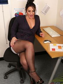 Lusty dark haired secretary Nicola Kiss craving some kinky office sex