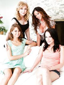 Beautiful MILFs with big breasts posing non nude before enjoying lesbian orgy