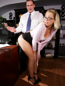 Blond secretary Zoey Monroe likes her nice ass spanked before fucking her boss