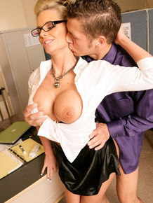Horny business woman Phoenix Marie seduces a junior employee in her office
