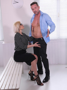 Busty blonde secretary Kitana Lure closes the deal with an office blowjob & DP