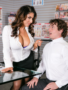 Super busty businesswoman Raven Hart gets a doggystyle desk bang at the office