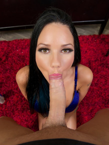 Slut Raven Bay taking a huge cock in her mouth and getting facialed