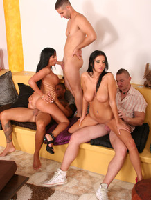 Lecherous bombshells have a fervent groupsex with naughty guys