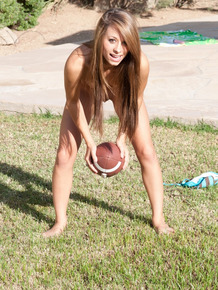 Irresistible football fan Riley throwing ball butt naked