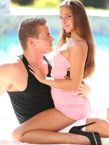 White girl Amirah Adara rides her man like a cowgirl to a creampie finale