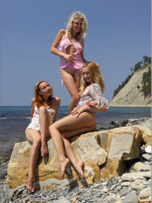 3 teens in summer dresses let their tits and twats loose before getting wet