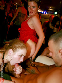 Hot women get drunk and fuck up a storm with male strippers at a private party