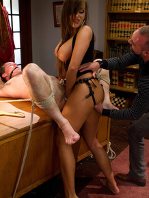 Unsuspecting husband finds himself being pegged and paddled by his wife