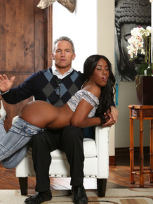 Cute ebony Ashley Pink seduces her stepdad and gets her ass spanked