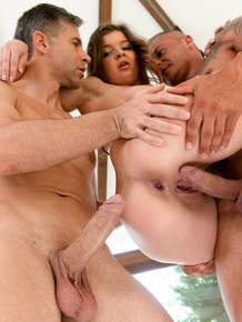 Teen Renata Fox gets surrounded and fucked by two boys Zack and Toby
