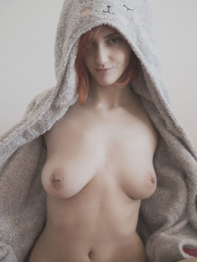 Redhead girlfriend with natural tits meets cold morning being naked