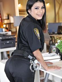 Office chick Miya Stone is undressing her Halloween uniform