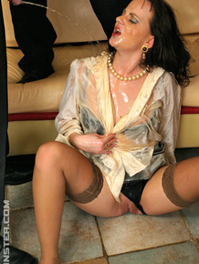 Dirty mature slut participating in an anal bukkake gangbang