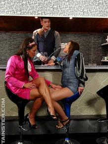 Clothed ladies find themselves getting soaked with golden showers in a 3some