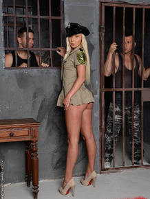 Amazing double penetration of a police girl Angie Koks in a threesome