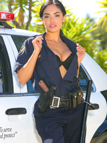 Desirable police lady getting nude and exposing her goods outdoor
