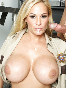 Hot MILF in cop uniform Tyler Faith denudes boobs and gets fucked