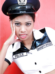 Wearing a cop uniform made amateur Jenny feel too hot so she stripped