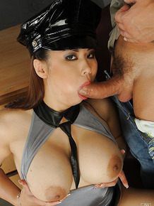 Busty asian chick Tigerr Benson gets her shaved love holes drilled hardcore