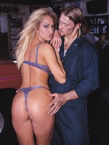 MILF pornstar shows up for a hot garage suck & cumshot shoot in sexy lingerie