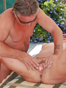 Amateur fatty Lizzie gets tempted outdoors and gets her hairy twat fucked