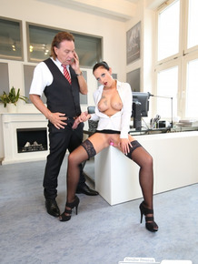 Hot tattooed secretary fucking with her boss in the middle of the office
