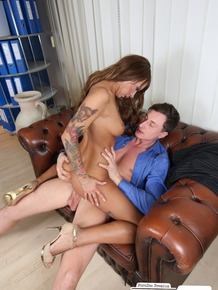 Tattooed secretary rides her lawyer boss at work with naked office deepthroat