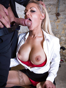 Awesome blonde Loulou was fucked right in her big mouth on camera