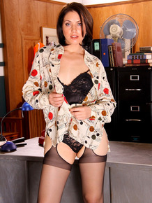 Horny secretary Sarah Shevon shows off her twat in boots & hose on the desk