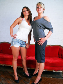 Lesbian couple Ash & Nikki strip to their bra and panty combos together
