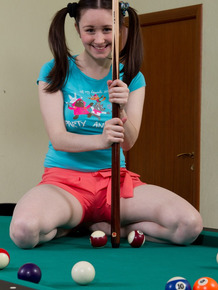 Pigtailed teen Tri playing with her hairy vagina on the pool table