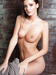 Big tits brunette Sunshine taking a hot shower while all alone