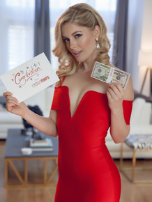 Cute blonde Charlotte Stokely celebrates a birthday with a cash gift