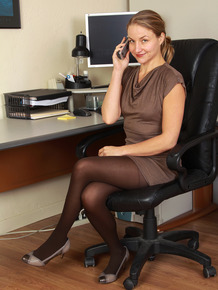 Over 30 business woman Gloria strips naked while doing business on phone