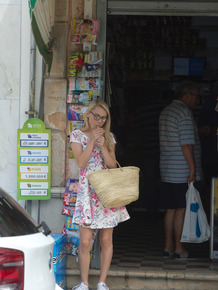 Thin blond chick Chloe Toy enjoys a smoke as she goes about her daily business