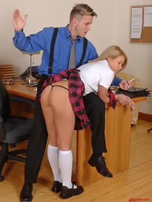 Blonde schoolgirl has skirt hiked in office for spanking before forced bj