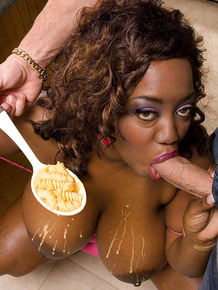 Busty black girl Nina Star getting her pussy stuffed at the dinner